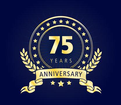 75 Years Anniversary Gold Vector