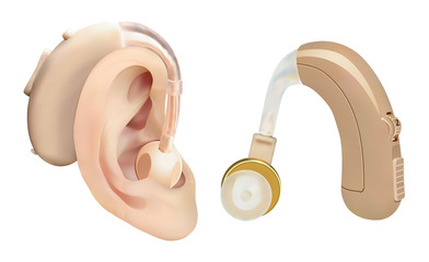 Hearing aid behind the ear. Sound amplifier for patients with hearing loss. Treatment and prosthetics in otolaryngology. Medicine and health. Realistic object. Vector