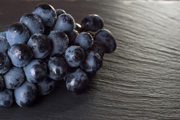 fresh ripe black grapes
