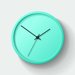 Simple wall green Clock in realistic style, minimalistic timer on light background. Business watch. Vector design element for you project