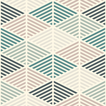 Seamless pattern with hatched diamonds. Scale wallpaper. Rhombuses and lozenges motif. Repeated geometric figures