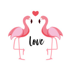 Cute Flamingo Love Background Vector Illustration