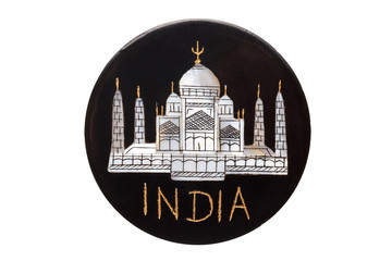 Taj Mahal Temple world famous landmark refrigerator magnet from India isolated on white