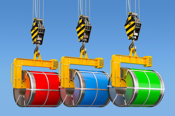 Crane hooks with galvanized steel sheet with polymer coating in coils, 3D rendering