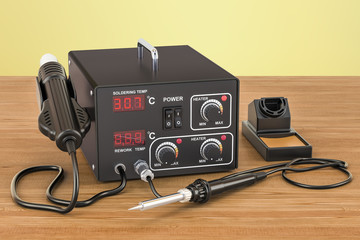 Digital Soldering Station on the wooden table. 3D rendering