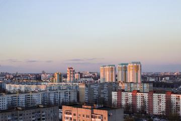 Urban buildings high-rise. High-rise buildings on top. Gray buildings minsk