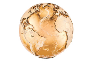 Golden Earth Globe, 3D rendering
