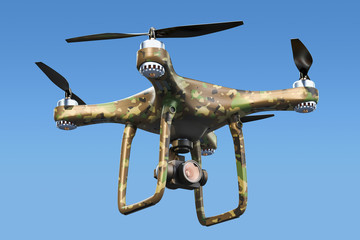 Military Drone in the blue sky, 3D rendering