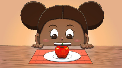 Close-up illustration of a black girl staring at an apple on the table.