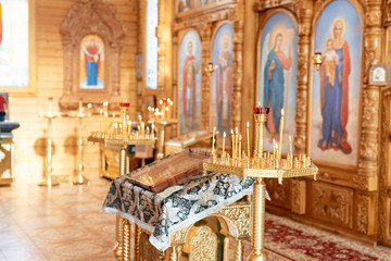 Interior of the Orthodox church candlestick