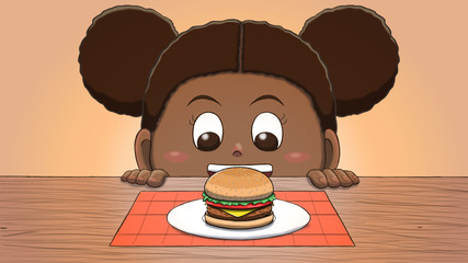 Close-up illustration of a black girl staring at a hamburger on the table.