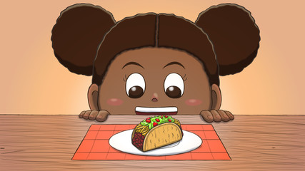 Close-up illustration of a black girl staring at a taco on the table.