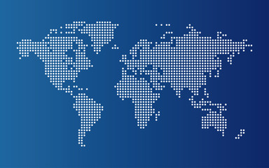 Fototapeten Weltkarte Dotted world map. Continents of the World map with dots on blue background.