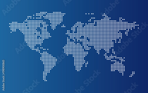 Dotted world map continents of the world map with dots on blue dotted world map continents of the world map with dots on blue background gumiabroncs Choice Image