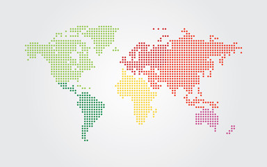 Foto auf Acrylglas Weltkarte Dotted world map. Continents of the World map with colorful dots.