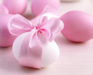 Pink Easter Eggs with Ribbon Bow