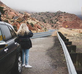Girl Sightseeing on Road Trip