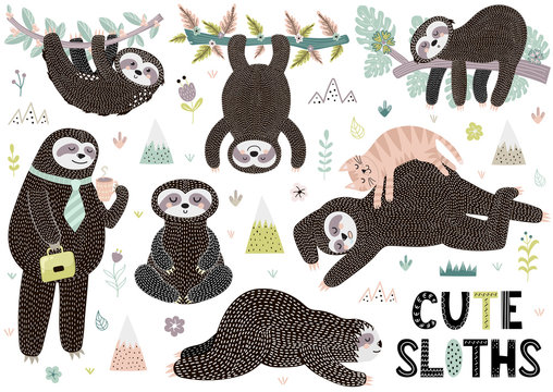 Cute sleeping sloths collection with mountains, plants and flowers. Funny characters in different poses. Vector illustration