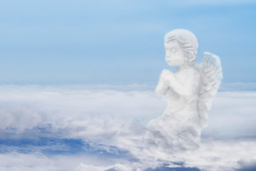 Illustration Concept Art of White Clouds with The Appearance of Sitting Baby Angel over Blue Sky Background.