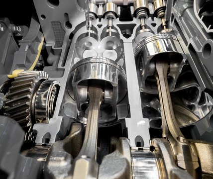 Inside view of 4 stroke engine cylinders, pistons and valves