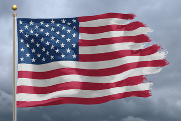 Flag of United States tattered and torn with stormy sky