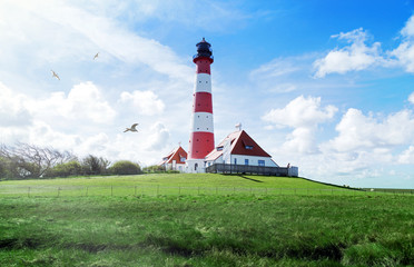 Leuchtturm Westerheversand in Schleswig-Holstein, Norddeutschland
