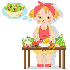 Little girl is preparing a salad