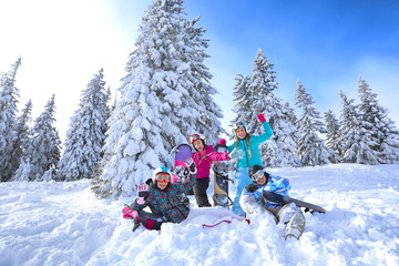 Friends at snowy ski resort. Winter vacation