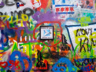 John Lennon tribute wall with colorful graffiti in Prague, Czech Republic