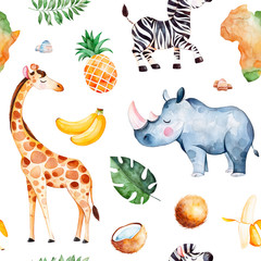 Africa watercolor seamless pattern.Collection with giraffe,rhino,zebra,banana, pineapple, coconut,palm leaves,Africa continent etc.Perfect for wallpaper,print,packaging,invitations,Baby shower