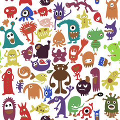 hand drawn black monster silhouettes. vector illustration. Monsters of set for halloween, scary bizarre character monster