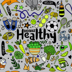 Healthy lifestyle concept,Hand drawn vector illustration set of fitness and sport sign and  food doodles elements