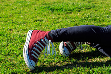 Sneakers on the grass