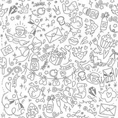 Valentine's Day Love & Hearts Doodles Design Elements on Lined Sketchbook Vector Illustration