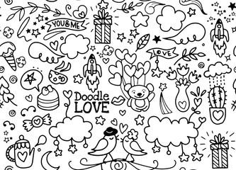 cute Cartoon vector hand drawn Doodle Love illustration. Line ar