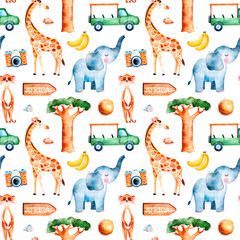 Africa watercolor seamless pattern.Safari collection with cute giraffe,elephant,meerkat,banana,wooden sign,coconut,baobab,pickup car,camera.Perfect for wallpaper,packaging,invitation,print,Baby shower