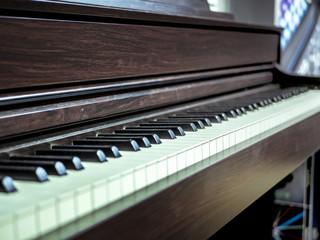 vintage retro piano keys in the studio