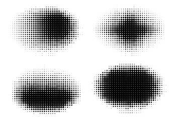 Set of halftone dots vector oval shapes. Abstract dotted stippling shapes. Monochrome halftone gradient shape set.
