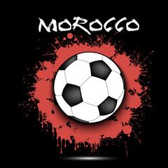 Soccer ball and Morocco flag