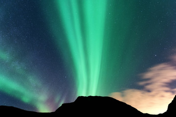 Aurora borealis and silhouette of mountains. Lofoten islands, Norway. Aurora. Green northern lights. Sky with stars and polar lights. Night landscape with aurora, blue sky. Nature background. Concept