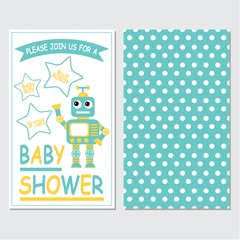 Vector cartoon illustration with cute robot boy on blue color background suitable for baby shower invitation card design, label and banner design
