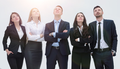 successful business team looking up