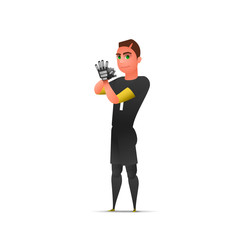 Soccer wating goalkeeper. Character design isolated Vector illustration