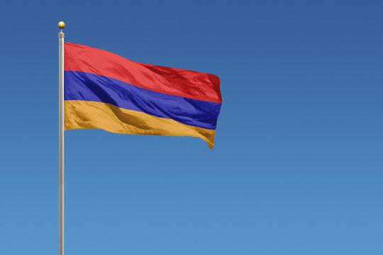 Armenia flag on a clear blue sky day