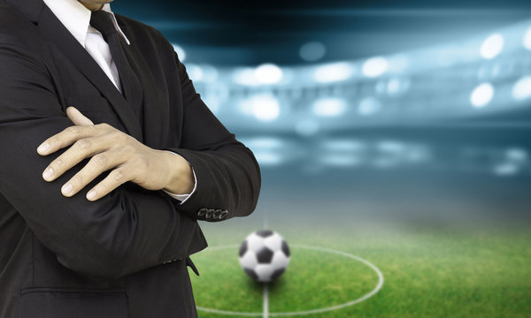 soccer manager in the stadium