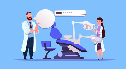 Man And Woman Doctors Over Dental Office Equipment Dentist Hospital Or Clinic Concept Flat Vector Illustration