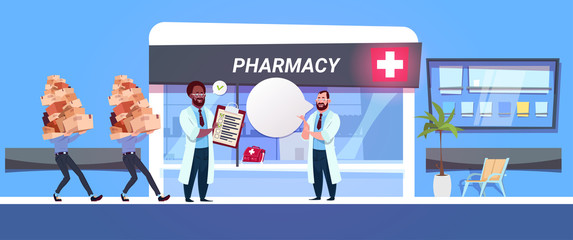Pharmacist Doctor In Pharmacy Store Check Boxes With Drugs And Pills Modern Hospital Drugstore Shop Concept Flat Vector Illustration