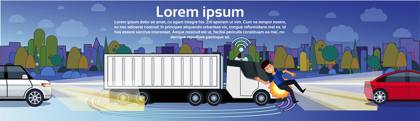 Truck Hitting Man Pedestrian On Night Road Transport Accident Horizontal Banner With Copy Space Flat Vector Illustration