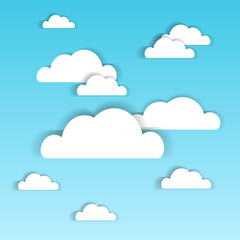 Blue Sky With White Paper Clouds Summer Cloudscape Background Vector Illustration