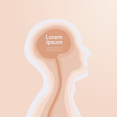 Human Head Brain Template Creative Silhouette With Copy Space Vector Illustraion